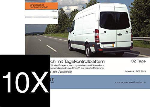 10er Pack Kontrollbuch mit 32 Tageskontrollblatt für den Güterverkehr Fahrpersonalverordnung (FPersV) | Premium-Qualität