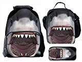 Kid's Cool Animal 3D Shark Backpack Teen Boys School bags backpack with Lunch Box Pen Case 3 in 1 …