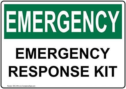 OSHA Notfall-Aufkleber, Warnaufkleber, Gefahrenaufkleber, 17,8 x 12,7 cm, mit Erste-Hilfe-Info in englischer Sprache, Weiß