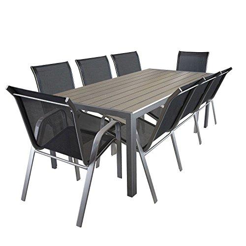 LD de Jardin Aluminium Table en Polywood 205 x 90 cm Chaises empilables 9.