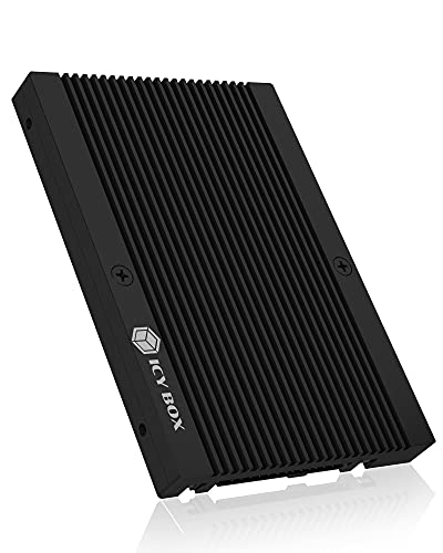 ICY BOX M.2 auf U.2 Adapter im 2,5 Zoll Format für M.2 NVMe SSD, PCIe 4.0 x4 Standard, Kühlrippen, Aluminium, Schwarz, 60778