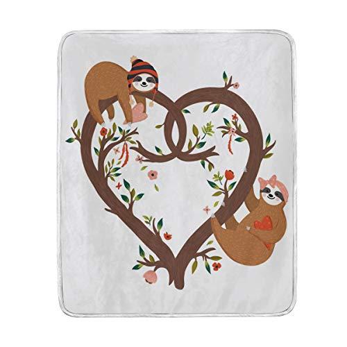 My Daily Sloth - Manta de poliéster con forma de corazón, diseño de árbol, 127 x 152 cm