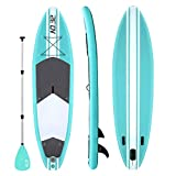 Tabla Hinchable de Paddle Surf + SUP Paddle Remo de Ajustable | Bomba | Mochila | Aleta Central Desprendible | Kit de Reparación | Asiento de Kayak y Surf Leash(300*76*15cm Grosor, Carga Hasta: 350kg)
