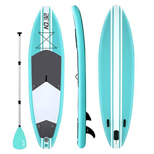 Aufblasbares SUP Board für Stand Up Paddle Board (15cm Dick) | Surfbrett Sets mit Hochdruck-Pumpe + Verstellbare Paddel + Kajak Sitz + 3 Finnen + Füße TPU Paddle Leash + Rucksack & Reparaturset (Grün)