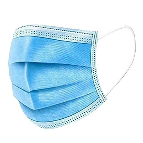 Máscara Descartável Tripla Com Elástico e Clip Nasal Azul - 100 Unidades