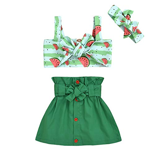 Baby Girls Summer Outfit Toddler Watermelon Top+Bow Skirt Headband 3Pcs Clothes Set (Green, 1-2 Years)