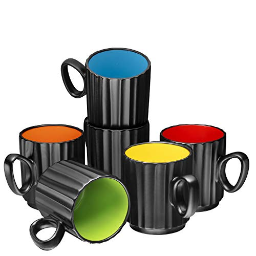 Set of 6 Coffee Mug Sets 14 Ounce Ceramic Coffee Ribbed Large-sized Black Coffee Mugs Set Perfect for Coffee Cappuccino Tea Cocoa Cereal Black Outside and Colorful Interior