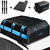 Rooftop Cargo Carrier Bag, Vehicle Cargo Carriers 21 Cubic ft,Waterproof Car Top Carrier Roof Bag, Soft-Shell Luggage Carrier For Car With/Without Rack, Includes Anti-Slip Mat,6 Door Hooks,Storage Bag