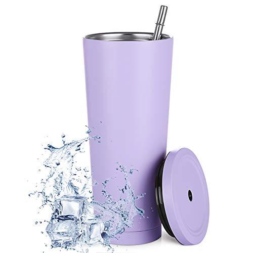 Aiboria 750ml / 25oz Edelstahl-Reisebecher mit Strohhalm und auslaufsicherem Deckel, umweltfreundliche Wiederverwendbare Flasche Kaffeetasse Vakuumisolierte Tasse für eiskaltes oder warmes Trinken
