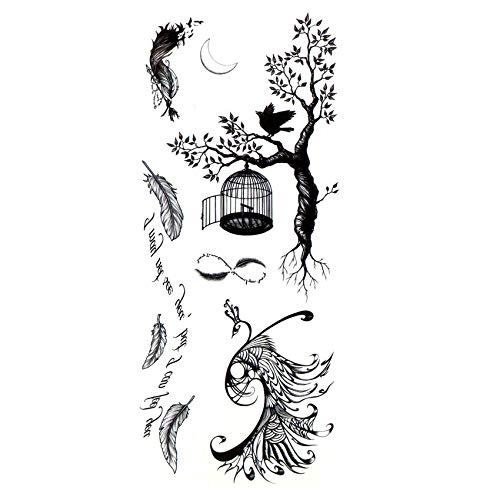 5pcs Peacock And Tree Waterproof Temporary Tattoos Men Fake Tattoo Body Art Maquiagem Bird's Nest The Flash Kids Tatoo Stickers