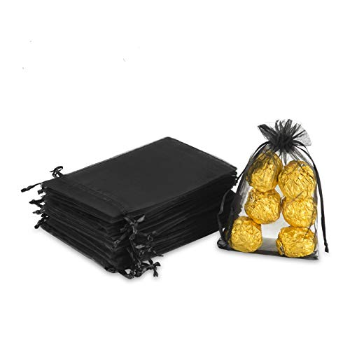 """Hopttreely 100PCS 4x6"""" (10x15cm) Sheer Drawstring Gift Bags, Black Organza Wedding Party Favor Pouches Jewelry Christmas Festival Gift Bags"""
