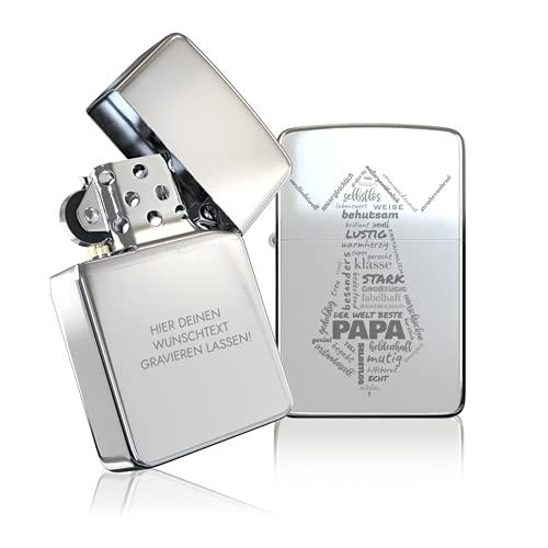 ᴢɪᴘᴘᴏ Papa Geschenk Weihnachten - Geschenke für Papa zum Vatertag Väter - tolle Idee für den besten Papa der Welt - Brushed - Feuerzeug mit Gravur