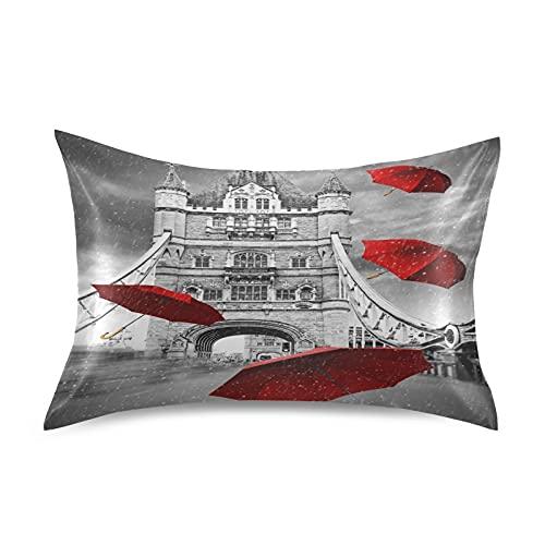 MeetuTrip - Fundas de almohada de satén para piel de pelo, diseño de puente de la torre de Londres, tamaño King, funda protectora con cierre de sobre para salón, sofá, hotel, decoración de cama