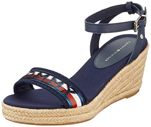Tommy Hilfiger Tommy Sequins Mid Wedge Sandal, Chanclas Mujer, Azul (Sport Navy Db9), 39 EU