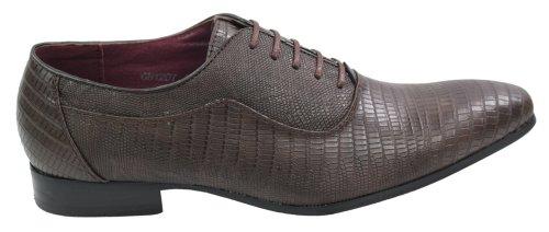 Herren Schuhe geschnürt Schokoladebraun Krokodilleder nur EUR31,99