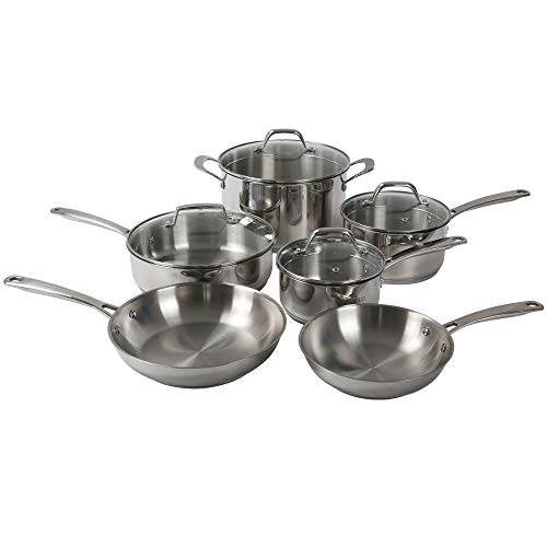 Othello - Juego de 10 utensilios de cocina de acero inoxidable triply para inducción y sartenes, apto para horno y lavavajillas