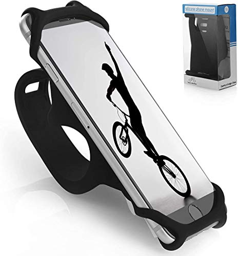 TeamObsidian Bike Phone Mount [ Size M ] Made of Durable Non-Slip Silicone. Mobile Cellphone Holder/Universal Cradle for All Bicycle Handlebars and 99% of Smartphones: iPhone 8, 7, 6, 5, Samsung etc.