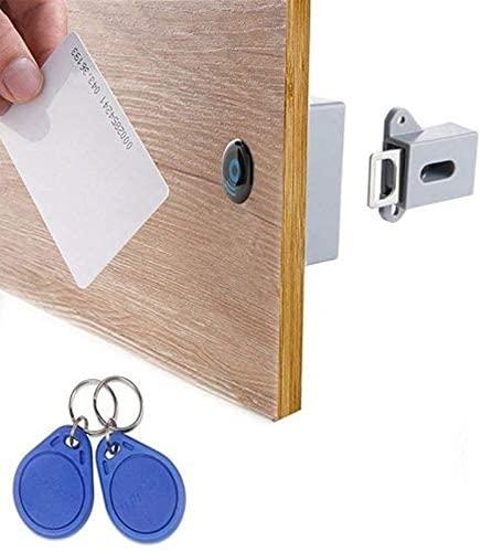 ZYKXSJ Locker Door Sensor smart Lock, Hidden RFID smart Drawer Lock, smart Sensor, Easy to Install, Suitable for Door, Kitchen Cabinet, Wardrobe -Gray