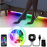 USB Under Bed Light with APP Control, 9.84ft Motion Activated Bed LED Strip Lights,5050 RGB LED Night Lights with Music Sync and Timer for Bed,Wardrobe, Cabinet,Stair Decoration