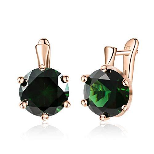 HoopsEarringsForWomen,Rose Gold Fashion Green Round Zirconia Hoop Piercing Earrings Hypoallergenic Lightweight Hoop Ring Circle Jewelry Earrings For Women Girls Party Wedding Valentine'S Day