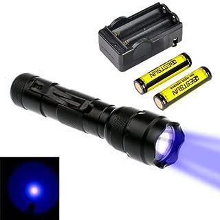 BESTSUN Wf-502b Ultraviolet LED 395-410nm UV Ultraviolet Inspection Blacklight Flashlight UV Flashlight with AC Charger and 18650 Batteries for Money Detector, Leak Detector Cat-Dog-Pet Urine