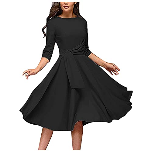 OutTop Vintage A-Line Dress for Women Half Sleeve O-Neck Elegant Solid Dress Casual Party Cocktail Swing Dresses with Belt (Black, M)