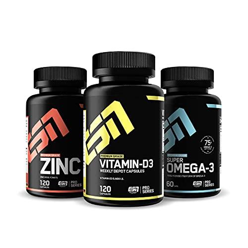 ESN Vitamin D3 + Omega 3 (1000mg) + Zink (25mg) im 3er Set