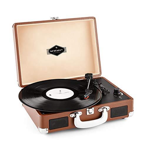 auna Peggy Sue Plattenspieler Schallplattenspieler (Riemenantrieb, Stereo-Lautsprecher, USB-Port, Abspielen und Digitalisieren, Lautstärkeregler, Klipp-Verschluss, Retro Design) braun