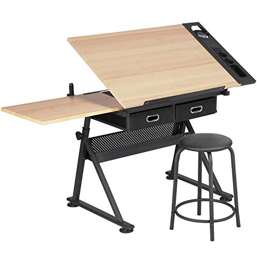 Yaheetech Drating Table Art Desk (Yellow Wood)