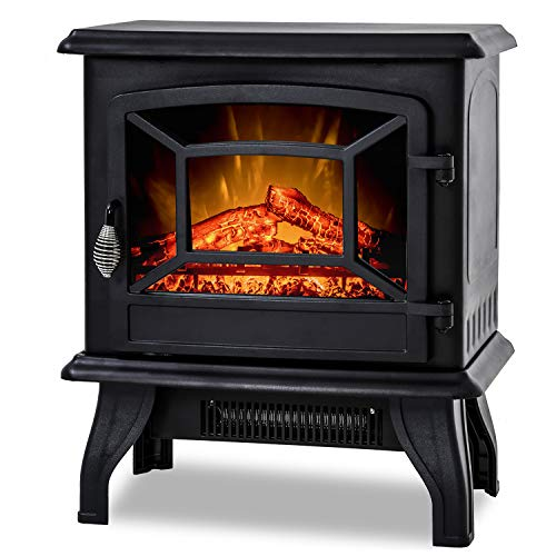 "BestMassage Electric Fireplace Heater Stove Portable Space Heater Freestanding Fireplace for Home Office with Realistic Log Flame Effect 1500W CSA Approved Safety 20"" Wx17 Hx10 D,Black"