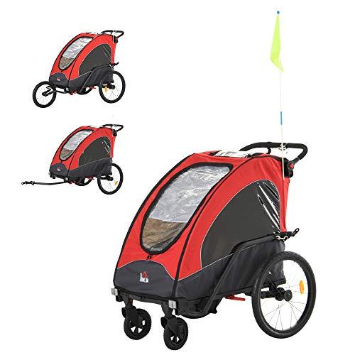 Aosom Child Bike Trailer 3 In1 Foldable Jogger Stroller Baby Stroller Transport Carrier with Shock Absorber System Rubber Tires Adjustable Handlebar Kid Bicycle Trailer Red and Grey