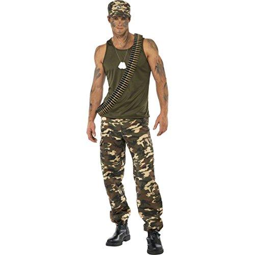 NET TOYS Soldat Kostüm Soldatenkostüm Khaki L 52/54 Herrenkostüm Army Krieger Kämpfer Armee Militär Uniform Karnevalskostüme Männer