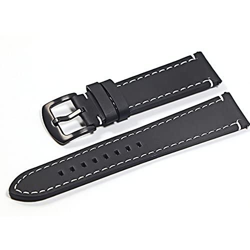 YMYGCC Correa Reloj Reloj de Cuero Pulsera Brazalete Black Brown Reloj Correa para Mujeres Hombres 20mm 22mm Banda de muñeca 711 (Band Color : Black, Band Width : 22mm)