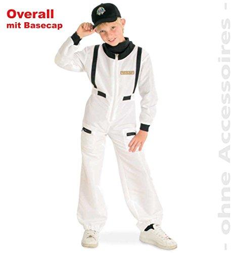 KarnevalsTeufel Kinderkostüm Astronaut Anzug/ Overall mit Mütze/ Basecap weiß mit schwarz Traumberuf Jungen und Mädchen (128)