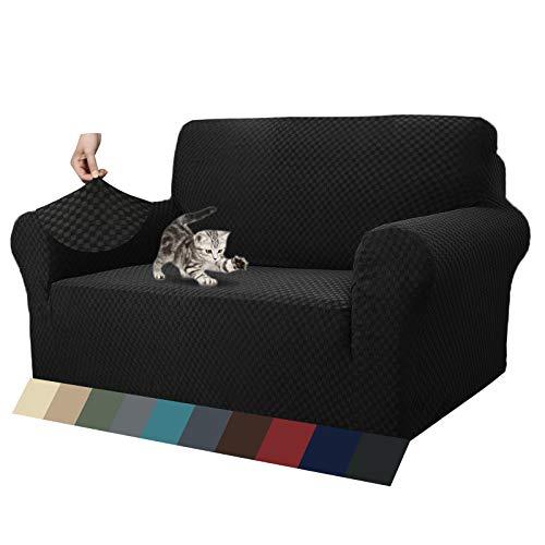 MAXIJIN Fodere per divani più recenti per 2 posti, Fodere per divanetto Jacquard Super Elasticizzato per Cani Protezione per mobili Elastica per Cani (2 Posto, Jacquard Nero)