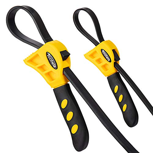 UPGRADED Rubber Strap Wrench - Set of 2pcs Jar Opener, Pipe Wrench, Oil Filter Wrenches used by DIY, Mechanics, Plumbers,...