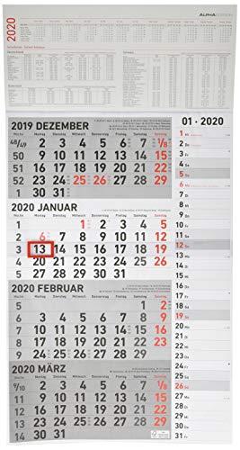 4-Monatskalender Kombi 2020 - Wandkalender - Bürokalender (33 x 63 geöffnet) - mit Datumsschieber - inkl. Jahresübersicht