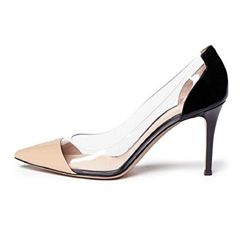 EDEFS Damen Transparent Stiletto Pumps Closed Toe Mode Damenschuhe Beige Größe EU41