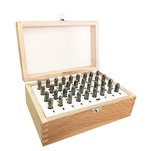 HimaPro 5/32 Inch 4mm Letter and Number Stamp Set 36pcs 40Cr Alloy Steel Metal Stamp Set Number and Letter Punch Set in a Wooden case