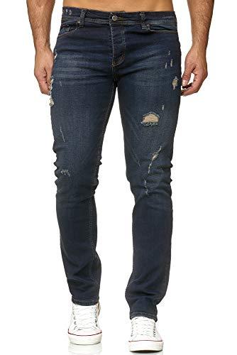 Reslad Jeans Herren Destroyed Slim Fit Herren-Hose Jeanshose Männer Hosen Stretch Denim Jeans RS-2090 Dunkelblau W32 / L34