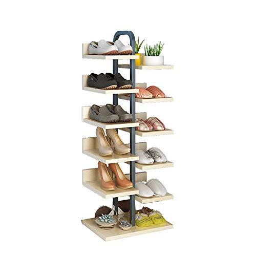 Dore Home Schuhschrank Aus Stahl Und Holz Eck-Schuhschrank Mit Einfacher Tür 6-lagiger Vertikaler Blumentopfhalter Kann 12 Paar Schuhe Aufnehmen (Color : Light Walnut)