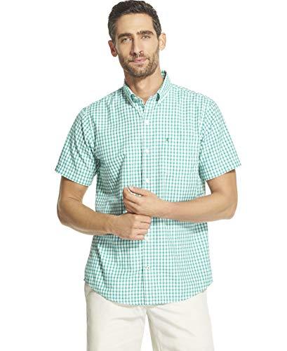 IZOD Men's Breeze Short Sleeve Button Down Gingham Shirt, Green, X-Large