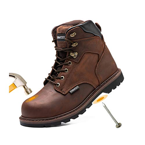TOSAFZXY Work Safety Boots for Men Durable Crazy-Horse Leather Indestructible Steel Toe Waterproof and Non-Slip Better Warmth Men Work Shoes Brown 13