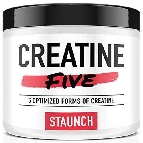 Staunch Creatine Five Creatine Powder Fruit Punch 30 Servings  Creatine Monohydrate MagnaPower TriCreatine Malate Creatine Pyruvate and Creatine Anhydrous