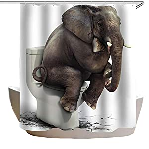 Shower Curtain Elephant Pooping on Toilet Design for Bathroom Waterproof Polyester Fabric Bathtub Curtain with 12 Plastic Hooks 71x71 inch