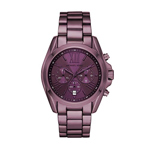 Michael Kors Women's Bradshaw Quartz Watch with Stainless Steel Strap, Purple, 22 (Model: MK6721)