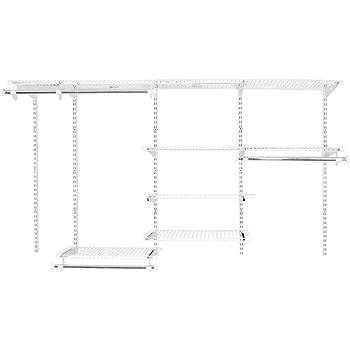 Amazon Com Rubbermaid 2062104 Fasttrack 4 To 8 Foot Wide Wire Closet Configuration Storage Kit White Home Kitchen