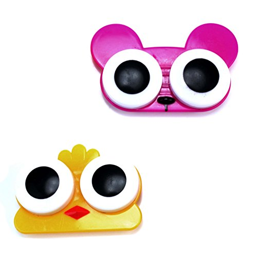 Pinzhi 2 x Estuche Caja Organzador Lentes de Contacto Porta Lentillas Ojos de Animal