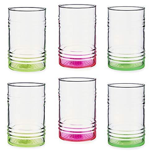 Pasabahce Lot de 6 verres fluorescents en verre 2 rose, 2 vert, 2 jaune. Capacité : 480 ml. Très résistant.