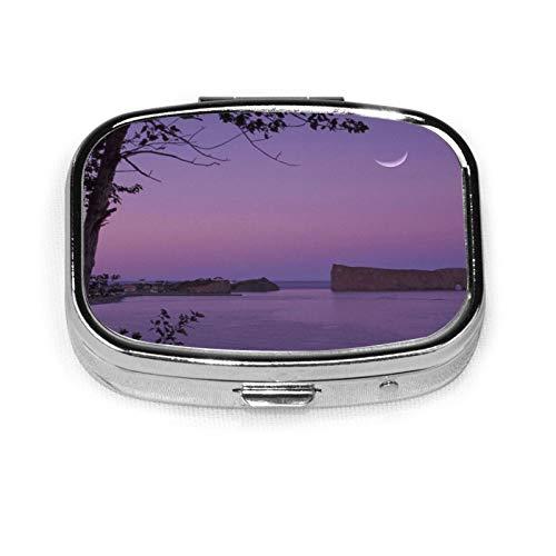 Sea Rocks Evening Moon Pill Box Pill Organizer Travel Medicine Case 2 Compartments Daily Portable for Purse Pocket Idea Gift